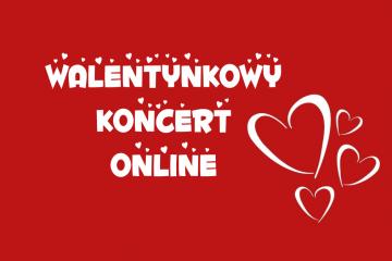 plakat z napisem walentynkowy koncert online czerwone tło