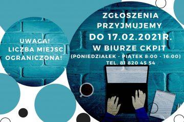 plakat informacyjny projektu cyfrowe goki logo ckpit obrazek przedstawiający laptop i dłonie