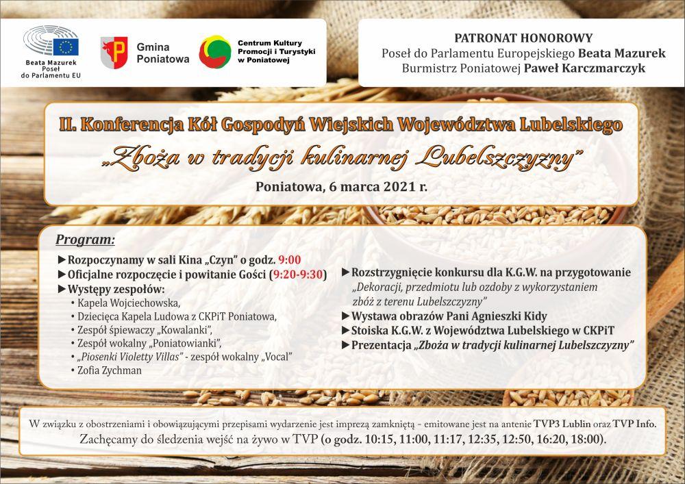 plakat konferencja kół gospodyń wiejskich z opisem programu