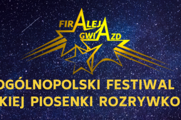 plakat Ogólnopolskiego Festiwalu Polskiej Piosenki Rozrywkowej FIRAleja Gwiazd zółte napisy na tle granatowych gwiazd