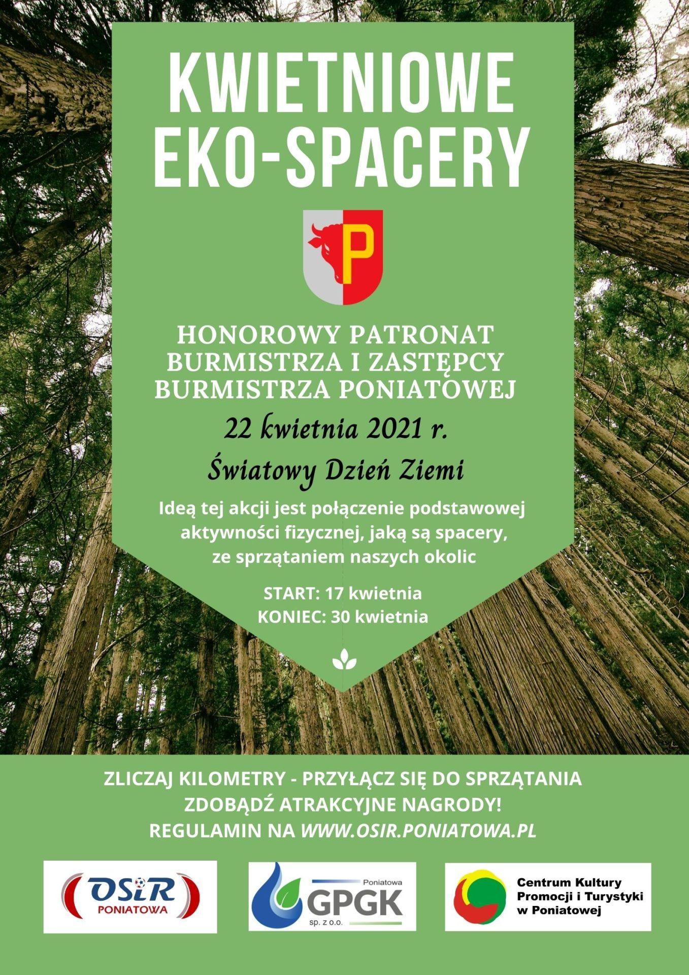 """Plakat akcji """"Kwietniowe Eko-spacery"""" na tle drzew"""