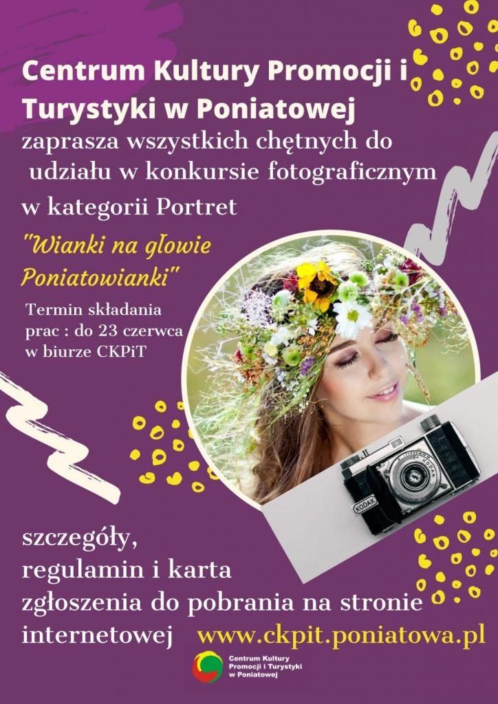plakat zaproszenie do konkursu wianki na głowie poniatowianki zdjęcie kobiety w wianku