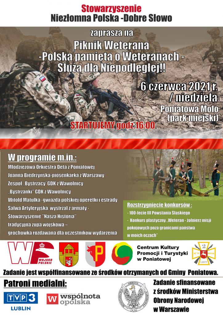 plakat zaproszenie na dzień weterana w tle żołnierz, program imprezy i logotypy