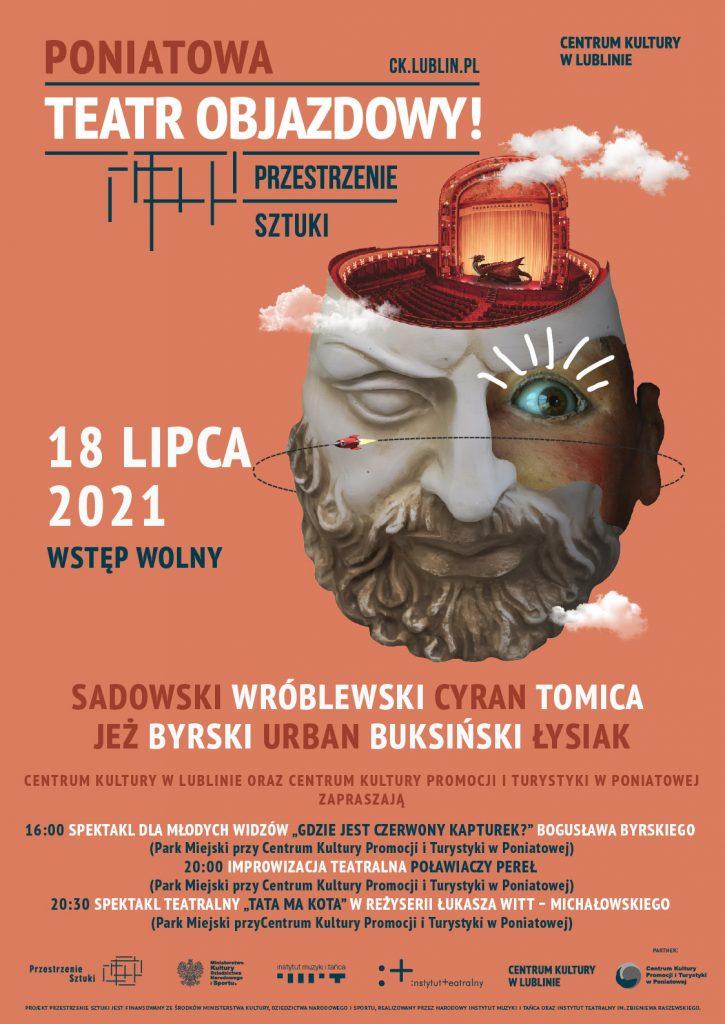 plakat z napisem poniatowa teatr objazdowy 18 lipca grafika głowa mężczyzny z brodą w jedno oko zakmniete