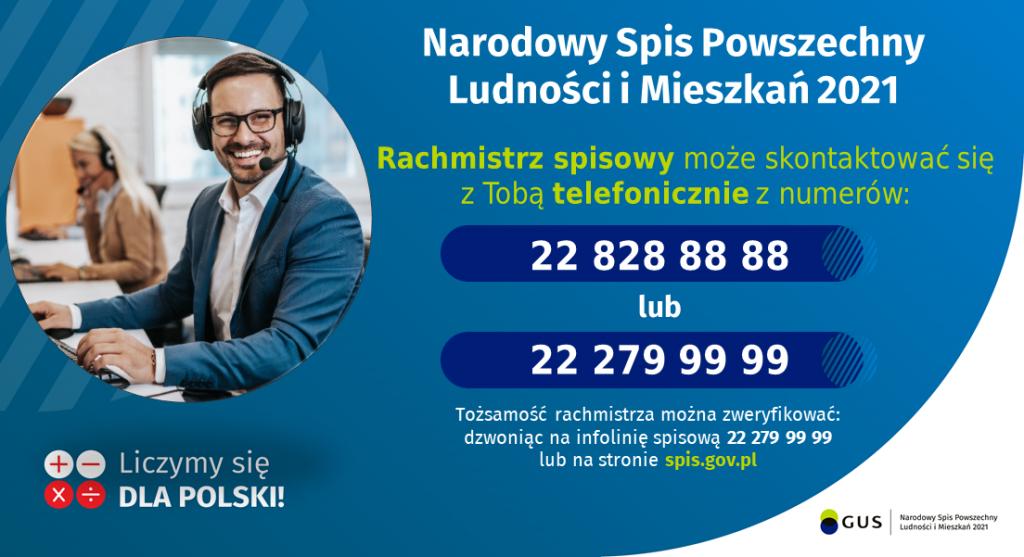 plakat naroowy spis powszechny ludności mieszkań 2021 niebieskie tło zdjęcie mężczyzny ze słuchawkami na uszach