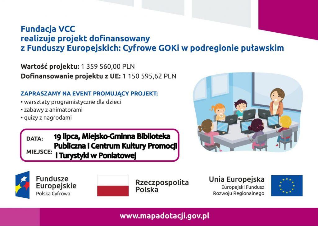 plakat napis Fundacja VCC realizuje projekt dofinansowany z funduszy europejskich cyfrowe GOKi w podregionie puławskim