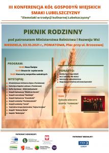 plakat III konferencja kół gospodyń wiejskich smaki lubelszczyzny piknik rodzinny w tle kłody zbóż