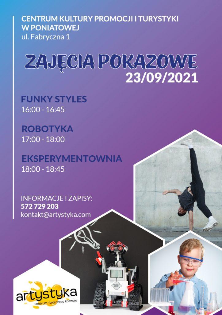 plakat zajęcia pokazowe 23/09/2021 zdjęcia robot, tańczący chłopiec, chłopiec w okularach