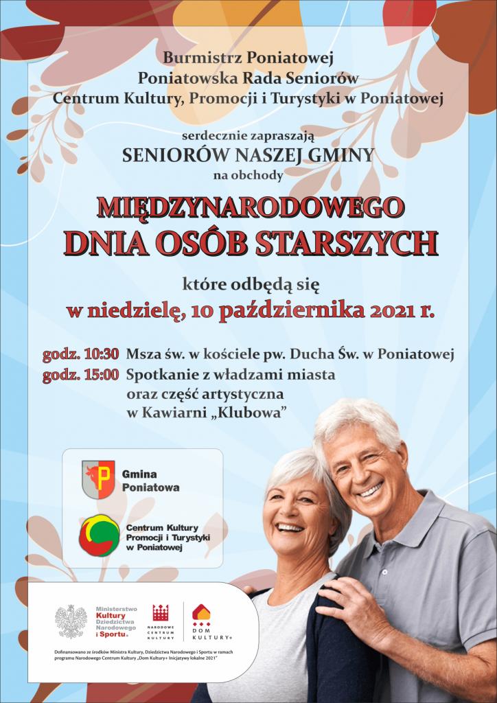 plakat zaproszenie międzynarodowy dzien osób starszych w tle liście starszy pan i pani uśmiechają się